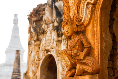 Beautiful ancient ruins at Inn Thein Paya, a large temple complex near Inle Lake in Shan State, Myanmar (Burma). Stock Photo - 27282269