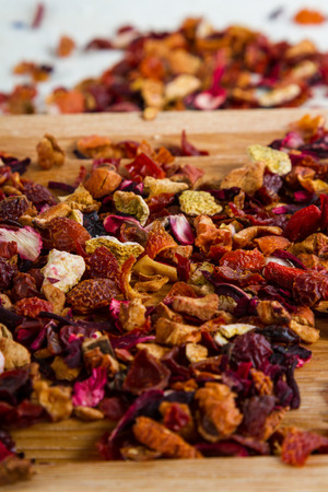 caffeine free: Delicious caffeine-free infusion of dried fruit, acai and goji berries  Stock Photo
