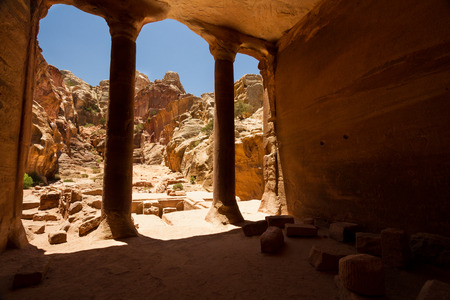 siq: Interior of an ancient building carved into the mountain in the Nabatean city of Petra, Jordan.