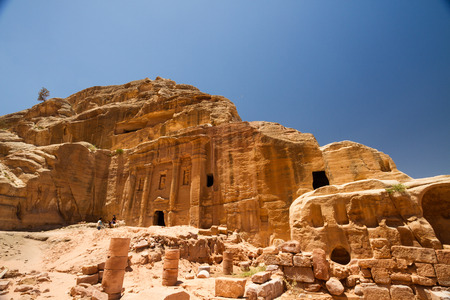 roman soldiers: Facade of the Roman Soldiers Tomb in the ancient Nabatean city of Petra, Jordan. Stock Photo