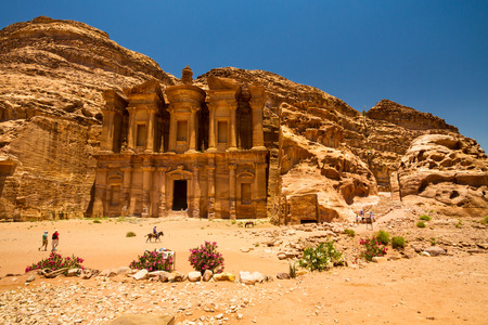 siq: 9 June 2014, Petra, Jordan: Facade of the Monastery, one of the famous monuments of the ancient Nabatean city of Petra, Jordan.