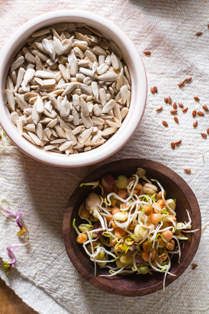 seeds of various: Colourful and healthy crunchy mixed seeds and various sprouts.