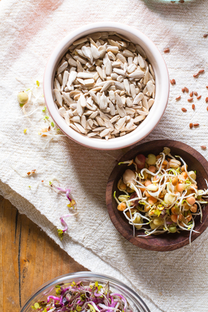 seeds of various: Colourful and healthy crunchy mixed seeds and various sprouts. Bean sprouts, sunflower seeds.