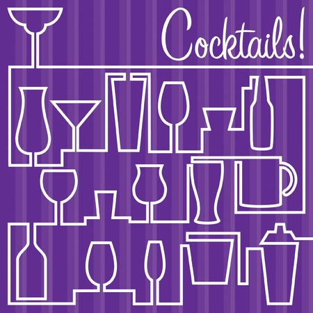 whiskey: Bright line drawing cocktail card in vector format. Иллюстрация