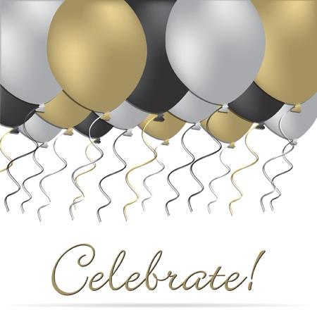 正式气球庆祝矢量格式的卡/邀请。