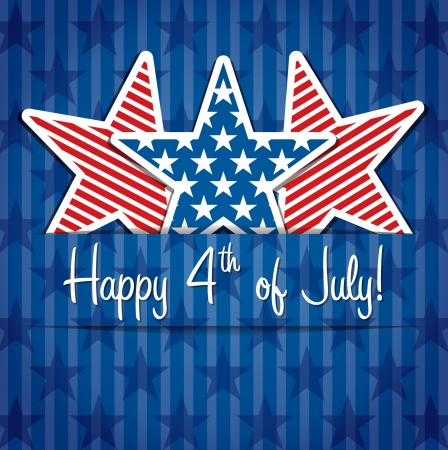 Happy 4th of July sticker cards in  format  Vector