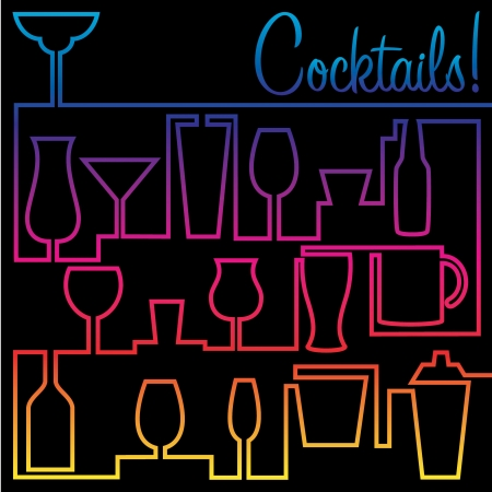 Cocktail card in  format Vector