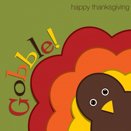 Hiding turkey felt Thanksgiving card in  format  Vector