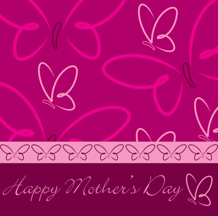 Happy Mother s Day butterfly card in  format  Vector