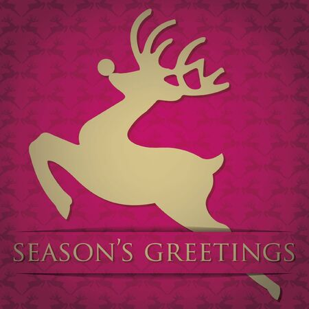 Gold reindeer  Season s Greetings  card in  format  Vector