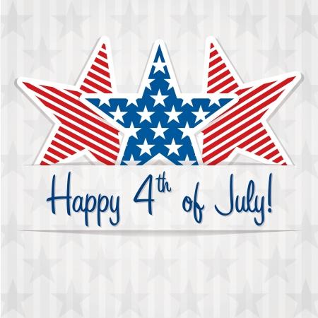 juli: Happy 4th of July stickerkaarten Stock Illustratie