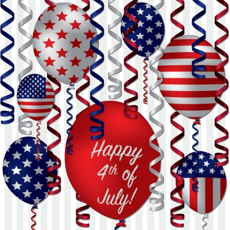 Happy 4th of July patterned balloon card Vector