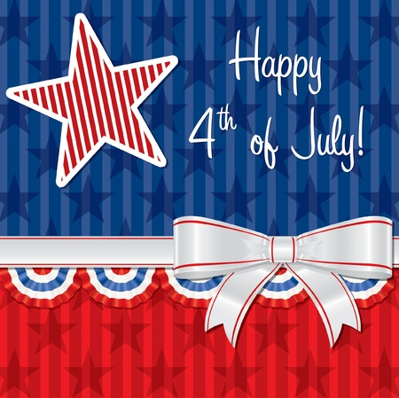 Ribbon Happy Independence Day card Vector