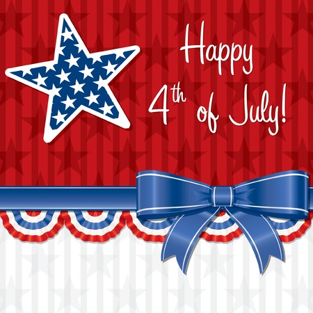 fourth july: Ribbon Happy Independence Day card in vector format  Illustration
