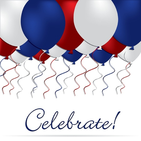 Celebrate independence Day balloon card Vector