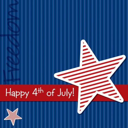 Happy 4th of July star cut out card Stock Vector - 19398304