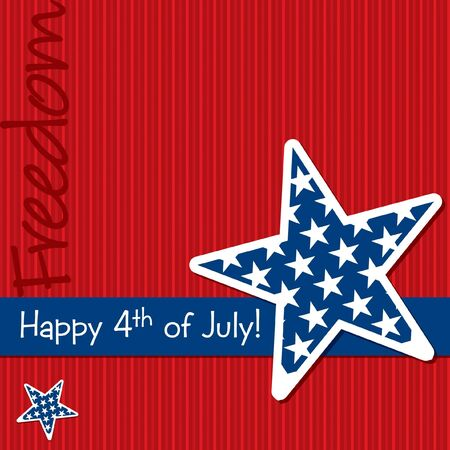 july fourth: Happy 4th of July star cut out card