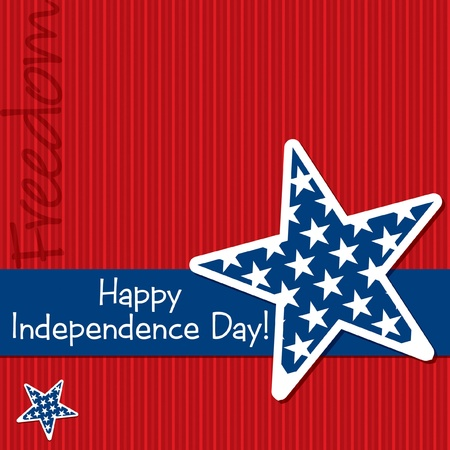 Happy Independence Day star cut out card Vector