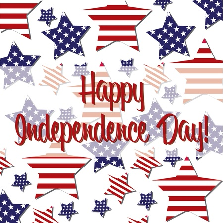 Patterned Independence Day star card Vector