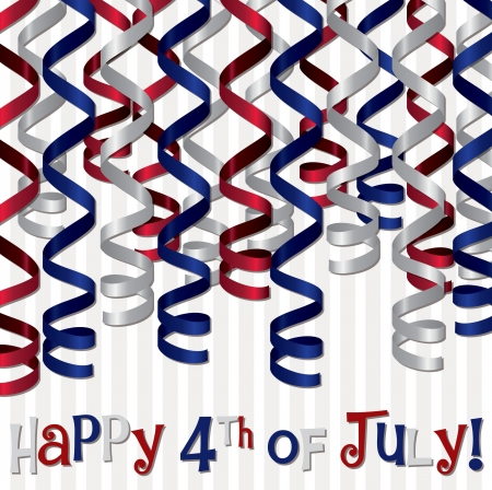 Happy 4th of July curling ribbon card Stock Vector - 19399697