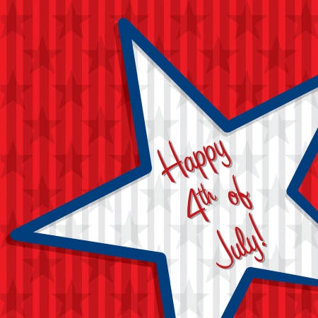Star cut out Happy 4th of July card  Vector