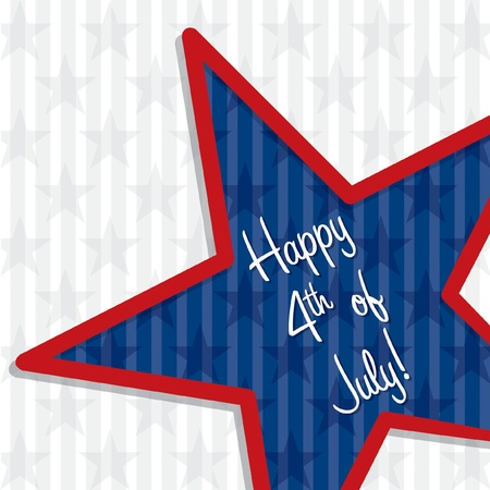 Star cut out Happy 4th of July card in vector format  Vector