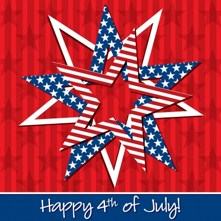 president's day: Happy 4th of July patterned star card Illustration