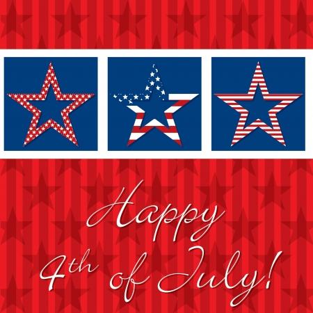 Happy 4th of July patterned star card Stock Vector - 19398643