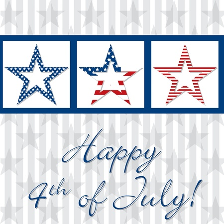 Happy 4th of July patterned star card  Stock Vector - 19398616