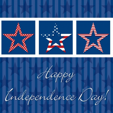 Happy independence Day patterned star card Stock Vector - 19398886