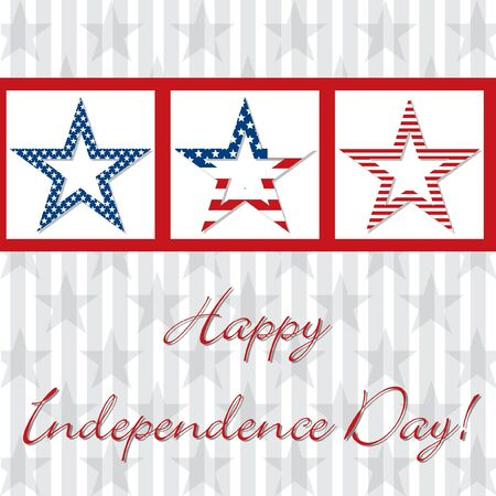 Happy independence Day patterned star card Stock Vector - 19398795