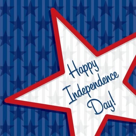 presidents day: Star cut out Happy Independence Day card Illustration