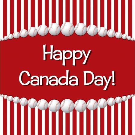 Baseball theme Happy Canada Day card Vector