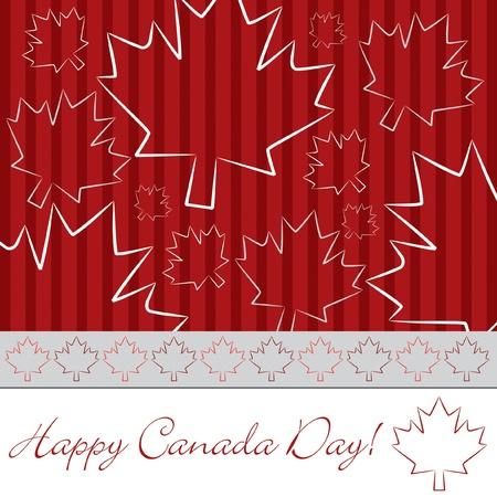 Hand drawn maple leaf Canada Day card Vector