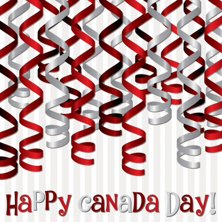 canada day:  Happy Canada Day  ribbon card