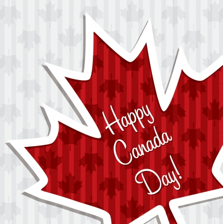 canadian flag:  Happy Canada Day  sticker card Illustration
