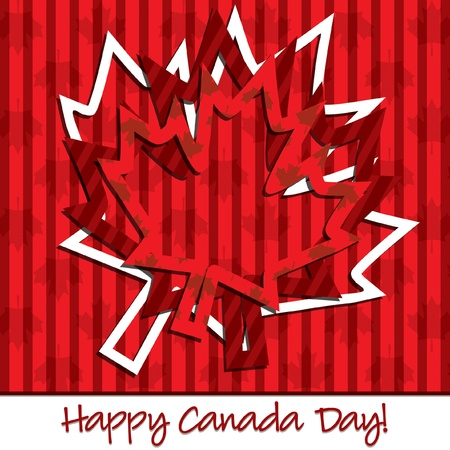Happy Canada Day  hollow sticker card  Vector