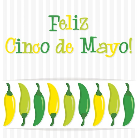 Happy 5th of May  chilli card Vector