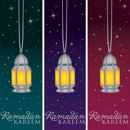 Silver Mosque and moon  Ramadan Kareem   Generous Ramadan  banners Vector