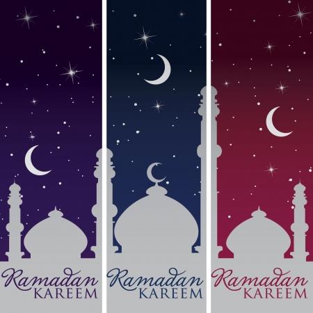 star and crescent: Mezquita de Plata y la luna de Ramad�n Kareem banners Ramad�n generosas Vectores