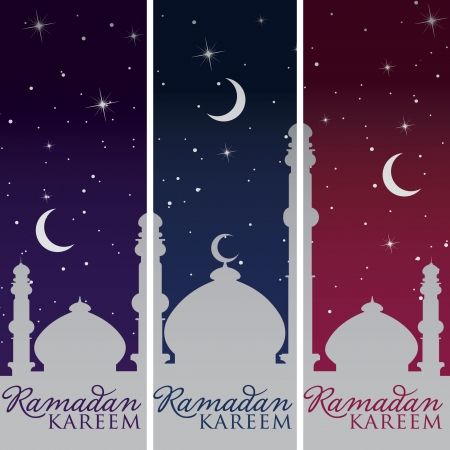 Silver Mosque and moon  Ramadan Kareem   Generous Ramadan  banners Stock Vector - 19400093