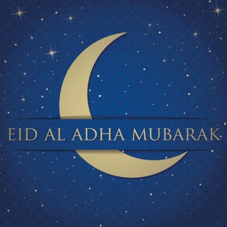 al: Gold crescent moon  Eid Al Adha Mubarak   Blessed Eid Al Adha  card