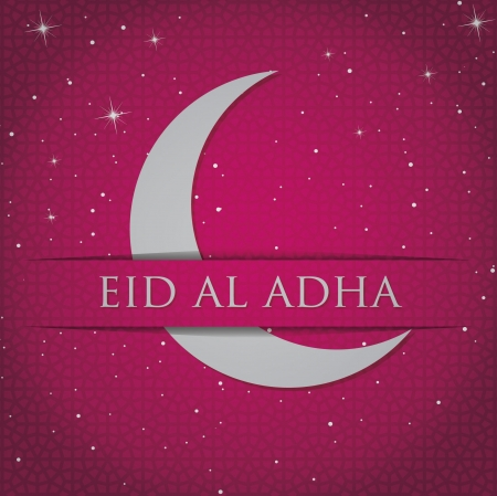 Gold crescent moon  Eid Al Adha  card Vector