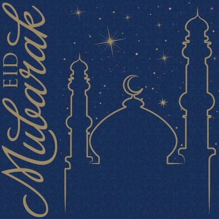 Hand drawn Eid Mubarak  Blessed Eid  greeting card Stock Vector - 19400353