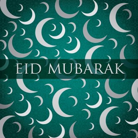 croissant de lune: Argent Or blanc croissant de lune Eid Mubarak carte Eid b�ni