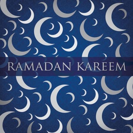 crescent: Silver crescent moon  Ramadan Kareem   Generous Ramadan  card
