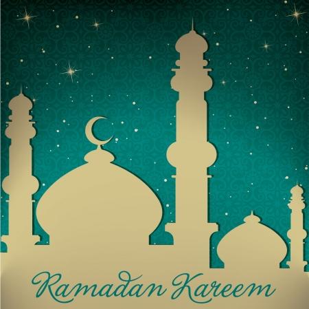 generoso: Mezquita de Oro y estrellas Ramad�n Kareem Generoso tarjeta de Ramad�n Vectores