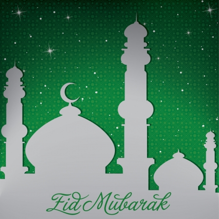 Silver white gold Mosque and stars  Eid Mubarak   Blessed Eid  card Stock Vector - 19401310