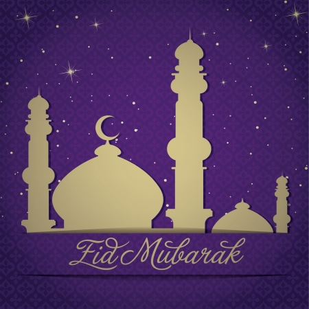 Gold Mosque and stars  Eid Mubarak   Blessed Eid  card in vector format Stock Vector - 19400988