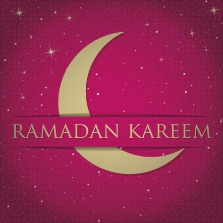 Gold crescent moon  Eid Mubarak   Blessed Eid  card Vector